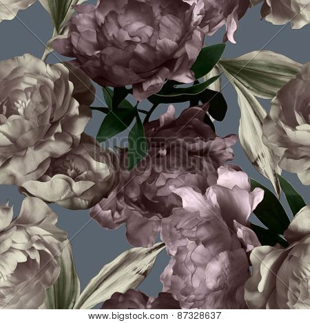 art vintage monochrome graphic and watercolor floral seamless pattern with white and purple peonies on grey background