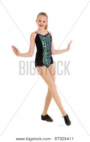 Happy Preteen Tap Dancer Posing