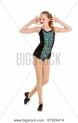Preteen Tap Dancer In Competition Costume