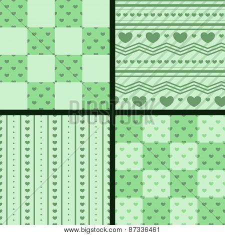 vector set ofseamless patterns with green hearts