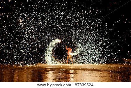 Firestarter performing amazing fire show at Koh Samed Samet island Thailand