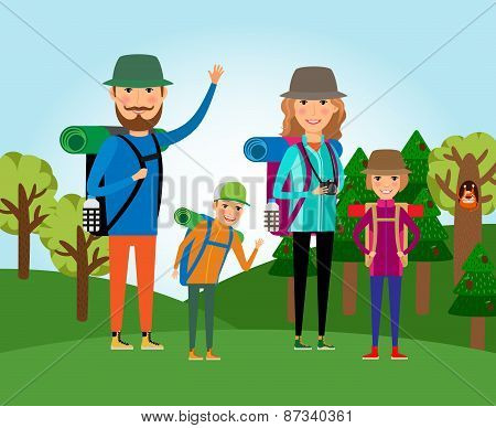 Nature tourism. Family at the forest illustration. Lifestyle and people, outdoor journey, mother and daughter, father and son poster
