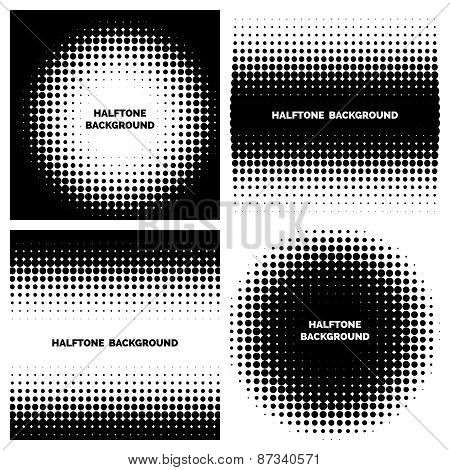 Abstract halftone backgrounds with text