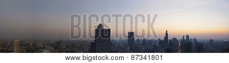 Panorama Scene Of Urban Building Of Bangkok Capital  Thailand Landscape In Morning Light Glow Up