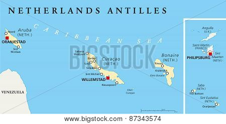 Netherlands Antilles Political Map. Aruba, Curacao, Bonaire, Sint Maarten, Saba and Sint Eustatius with capitals and important cities. English labeling and scaling. Illustration. poster