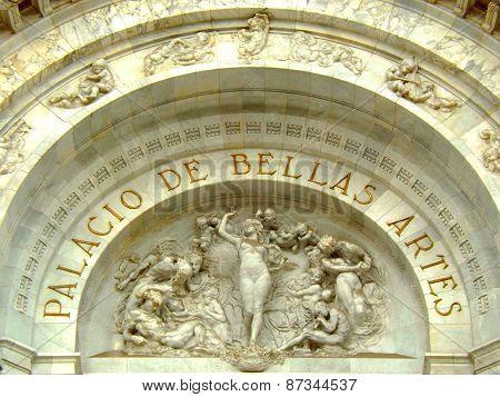 Tympanum of the Palacio de Bellas Artes main entrance