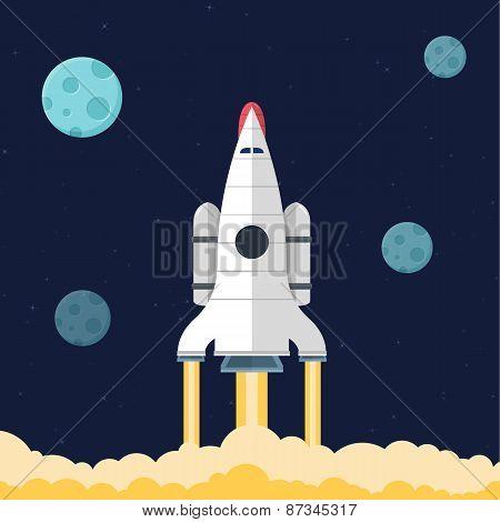 Flat illustration concept for web development. Rocket in space