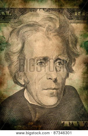 Macro Of Andrew Jackson On Ten Usa Dollar Banknote