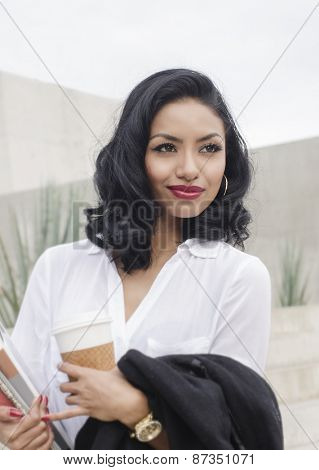 Woman in business clothing looking satisfied poster