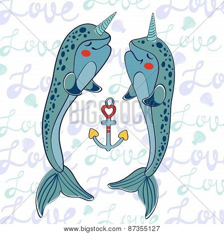 Couple of narwhals in love