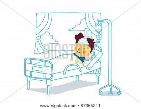 Sick Boy rest with sleep in patient room