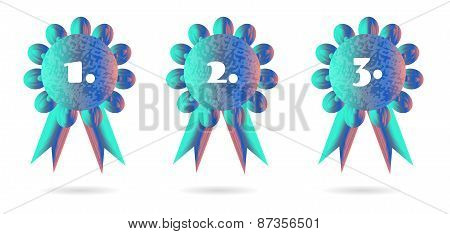 Set of three, isolated, floral, blue vector medals, white background