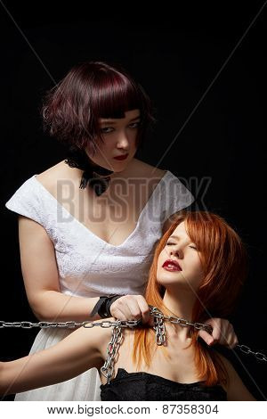 Sexual asphyxiation. Hot women posing in studio
