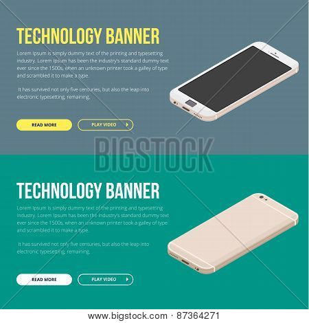 Modern vector banner with smartphone