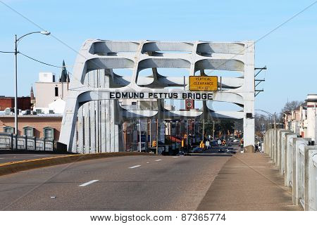 SELMA, AL-CIRCA JANUARY 2015: Historic Edmund Pettus bridge in Selma which recently celebrated its 5