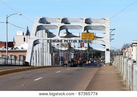 SELMA, AL-CIRCA JANUARY 2015: Historic Edmund Pettus bridge in Selma which recently celebrated its 5