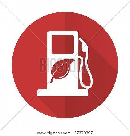 biofuel red flat icon bio fuel sign
