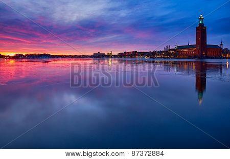 Stadshuset in Stockholm at sunset.