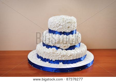 Multi Tiered Wedding Celebration Cake With Sugar Flowers