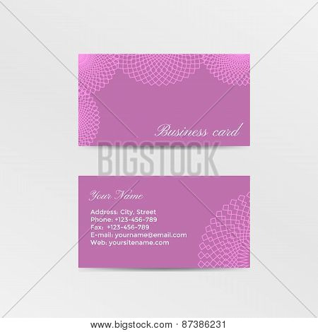 Pink business card decorated lacework