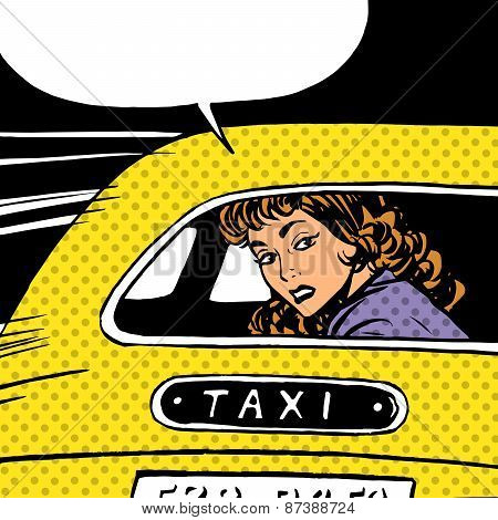 A woman goes to taxi looks around separation anxiety love maniac pop art comics retro style Halftone. Imitation of old illustrations. The girl in the back seat of the car looking through the glass poster