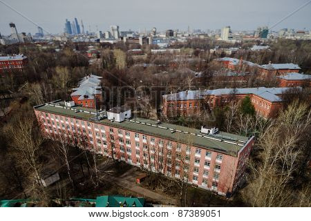 Moscow Aerial Tilt-shift Panorama At Spring Time