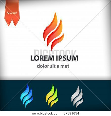 Fire Flame Vector Logo Design Template. Tongues Of Flame Creative Icon.