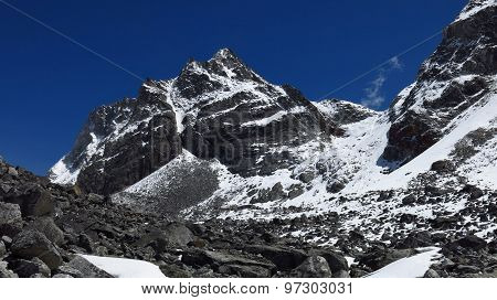 Steep trekking route to the Cho La mountain pass. Beautiful scenery on the way to Cho La mountain pass, Nepal. poster