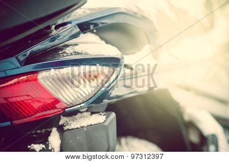 Motorcycle In Snow Detail
