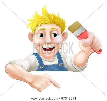 Cartoon Painter Pointing Down At Banner