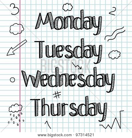 A set of signs, words, days of the week. Days of the week. Word. Hand drawing. Bar. The workbook is