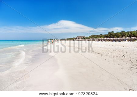 Soft Wave Of The Sea On The Sandy Beach. Blue Sky, White Sand, Palm Trees. Cuba, Varadero.