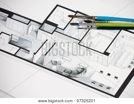 Group of vivid colorful brushes set on real estate floor plan architectural sketching