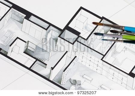 Group of vivid colorful brushes set on real estate floor plan architectural freehand sketch