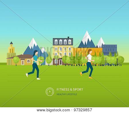 Sport woman run fitness girl jogging.