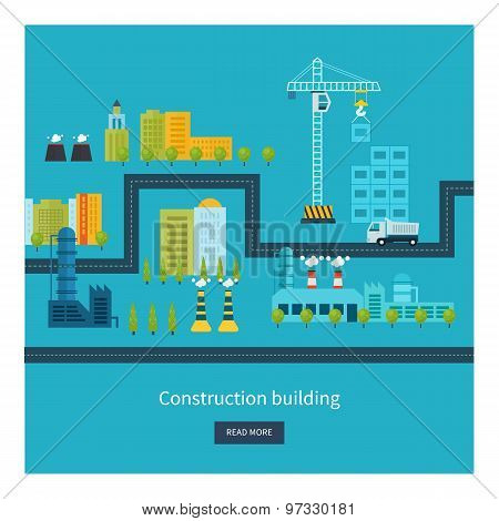 Flat design vector concept illustration with icons of building construction, urban landscape and ind