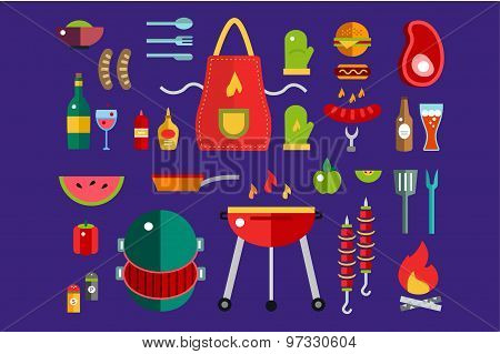 BBQ and Food Icons Vector Set. Outdoor, kitchen, meat and grill, burger, eat food symbols. Stock des