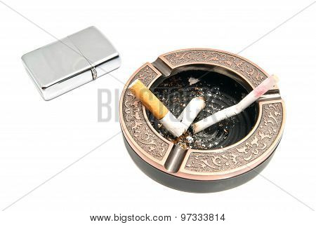 cigarette butts in ashtray and metal lighter poster