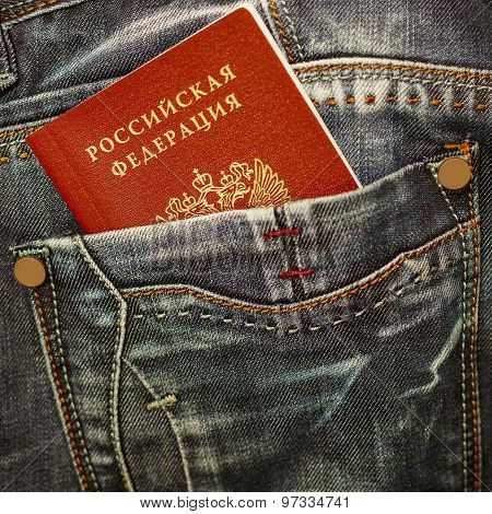 Russian Passport In Jeans Pocket Close Up
