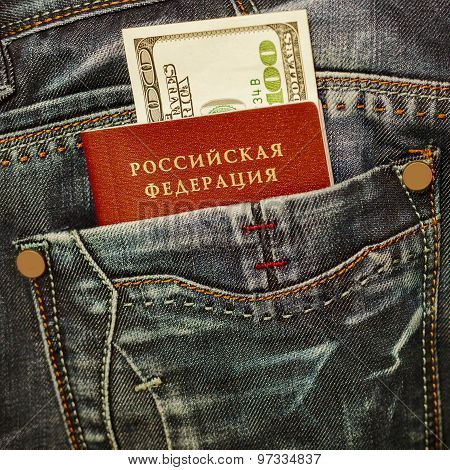 Russian Passport And Money In Jeans Pocket