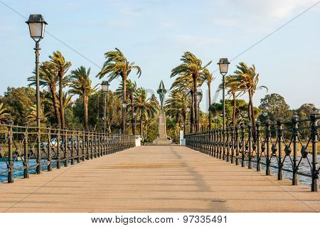 Queen's pier and the monument to the Plus Ultra, in Palos de la Frontera, close to La Rabida, Huelva