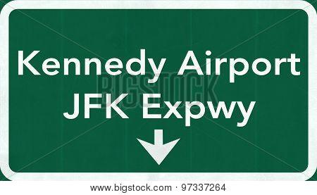 New York John Fitzgerald Kennedy Jfk Usa International Airport Highway Road Sign