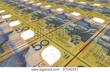 Australian dollar bills stacks background.