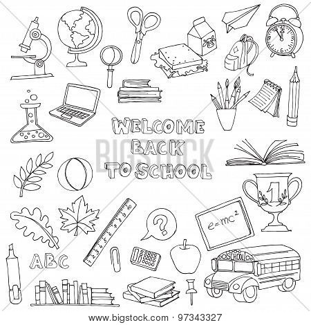 Back to school set of kids doodles with bus, books, computer, bl