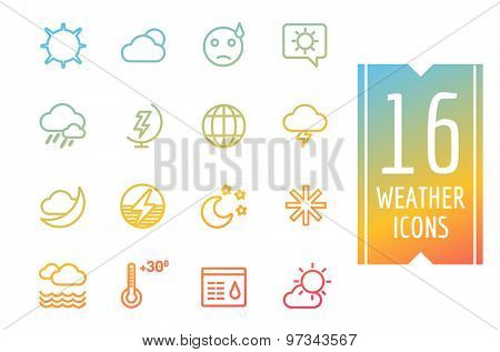 Weather icons vector outline set. Moon, sky or wind and cloud symbols. Stocks Design Element. App buttons