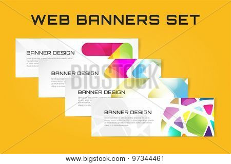 Web banner infographic template set. Processes presentation and information design, web structure, creative idea or paper, pattern, arrows, graph. Stock illustration. Design vector element