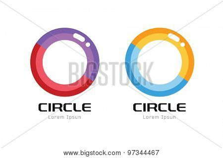 Vector circle abstract logo template. Round shape and infinity loop symbol, icon, creative idea or flow, lines. Company logotype. Stock illustration