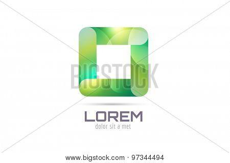 Vector square abstract logo template. Corner geometric and symmetric symbol, trendy icon, creative idea or glossy button. Company logotype. Stock illustration icon