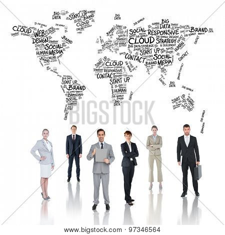 Business team against world map of buzzwords