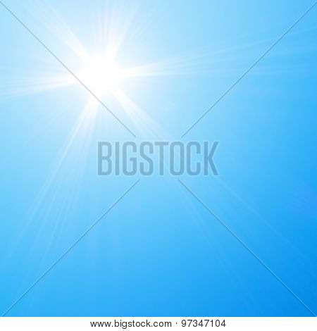 Sun shining in blue sky